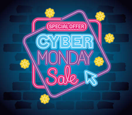 cyber monday neon banner design, sale ecommerce shopping online theme Vector illustration