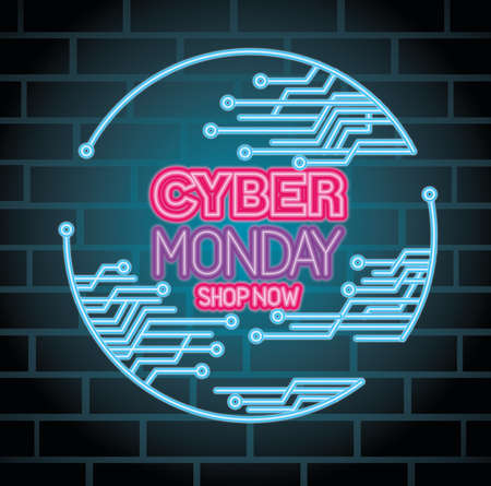 cyber monday neon with circuit design, sale ecommerce shopping online theme Vector illustration  イラスト・ベクター素材