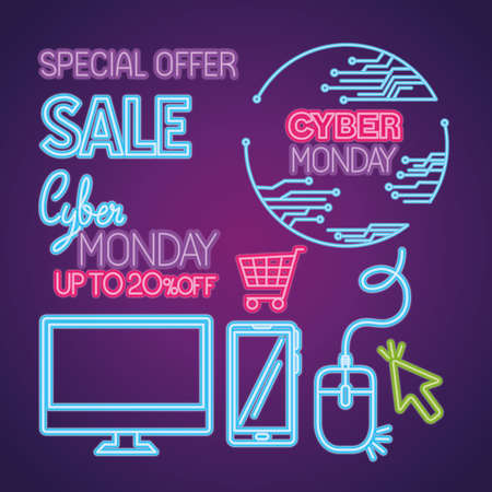 cyber monday neon icon set design, sale ecommerce shopping online theme Vector illustration