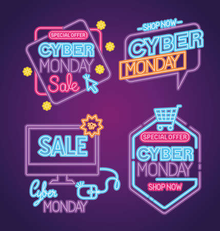 cyber monday neon set icons design, sale ecommerce shopping online theme Vector illustration  イラスト・ベクター素材