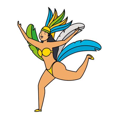 dancer with feather costume brazil carnival celebration vector illustration Çizim