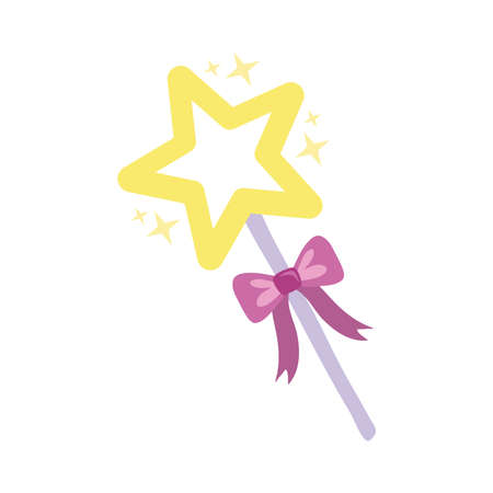 magic wand with star hand draw style icon vector illustration design