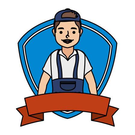 young mechanic worker in shield frame vector illustration design