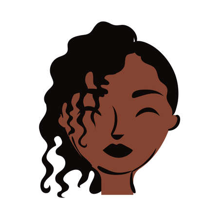 young afro woman with hair bow flat style vector illustration design