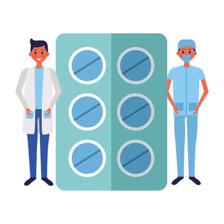 doctor men packaging pills medicine vector illustration Vector Illustration