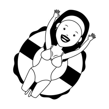 summer time holiday happy woman floating in the lifebuoy vector illustration