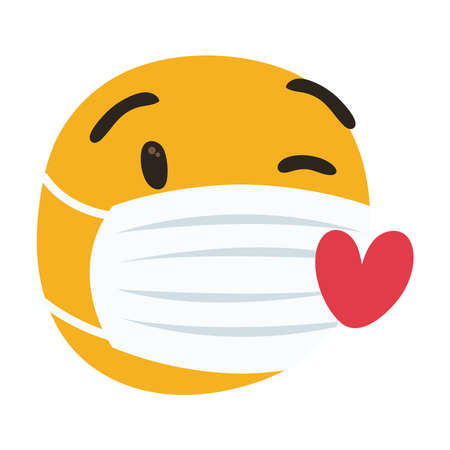 emoji wearing medical mask with hearts hand draw style vector illustration design