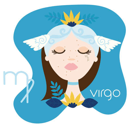 beautiful woman with virgo zodiac sign vector illustration design 向量圖像
