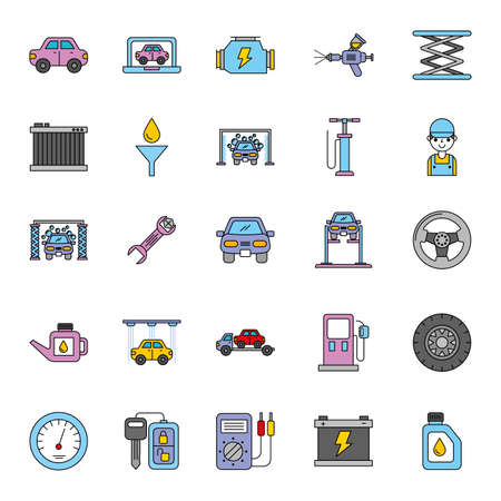 car repair service set icons vector illustration design