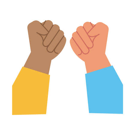 hands fists protests flat style icon vector illustration design