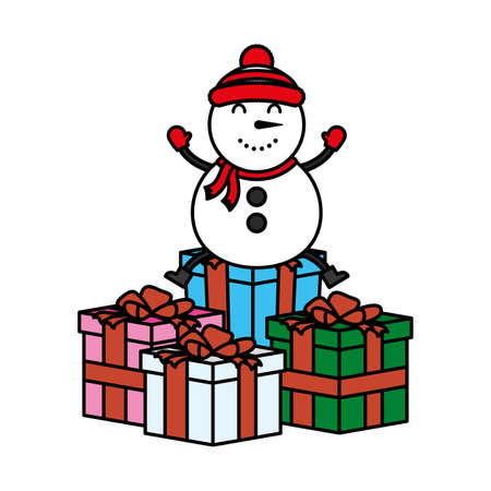 merry christmas cute snowman with gifts character vector illustration design 向量圖像
