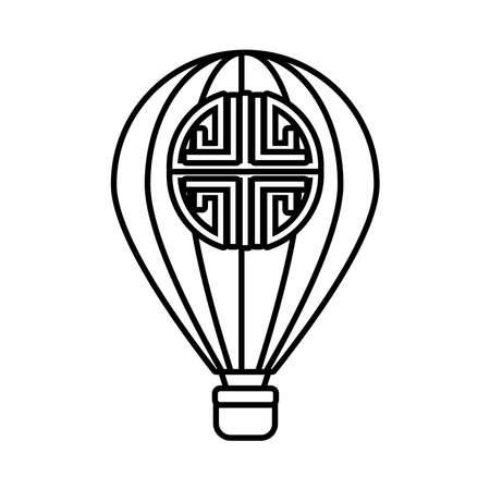 mid autumn celebration with balloon air hot line style icon vector illustration design