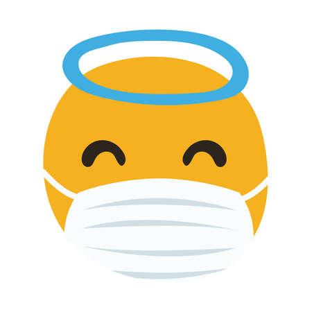 emoji angel wearing medical mask hand draw style vector illustration design