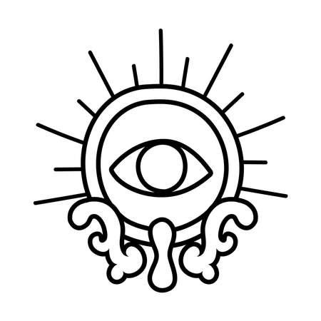 halloween eye line style icon vector illustration design