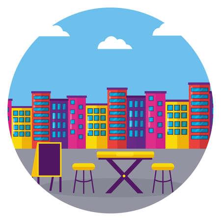 street food table restaurant urban background vector illustration 일러스트