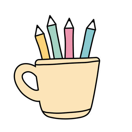 pencils holders free form style icon vector illustration design