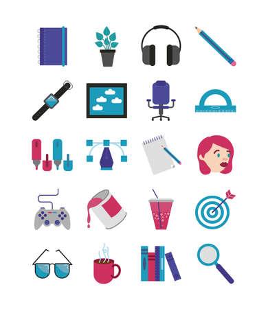 bundle of designer set flat icons vector illustration design Vetores