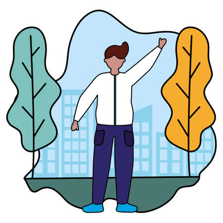 celebrating man character in the city park vector illustration
