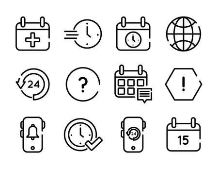bundle of twelve calendars set icons vector illustration design
