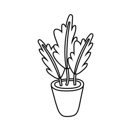 house plant in ceramic pot line style icon vector illustration design
