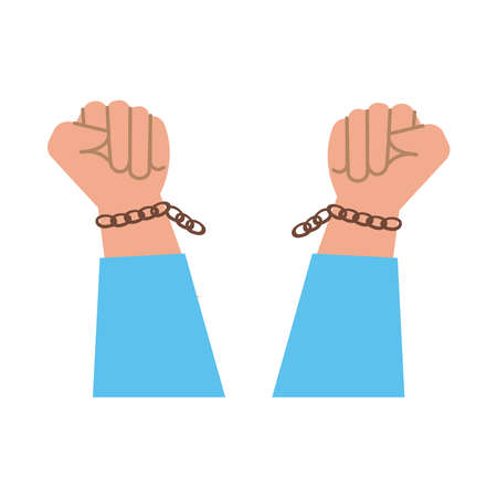 hands human broken slave chains flat style icon vector illustration design