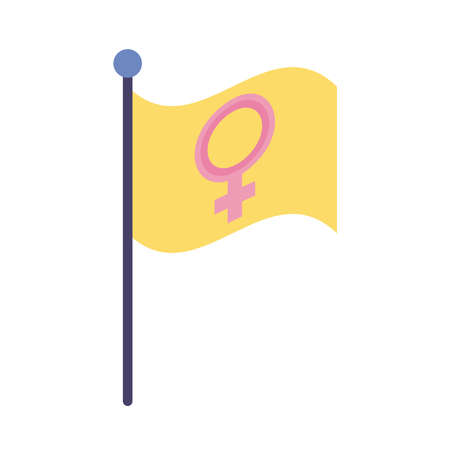 female gender symbol in flag flat style icon vector illustration design