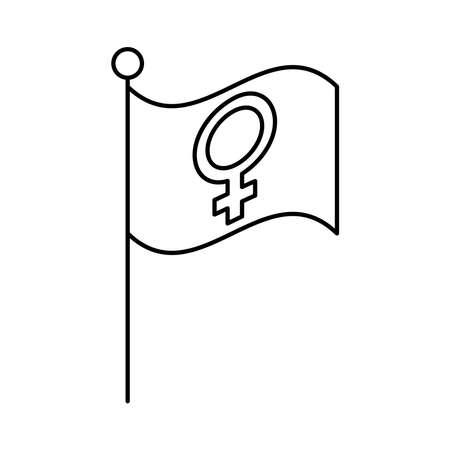 female gender symbol in flag line style icon vector illustration design