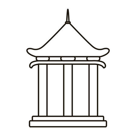 chinese tower columns structure line style icon vector illustration design