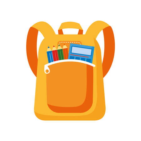 school bag with calculator and pencils colors flat style icon vector illustration design