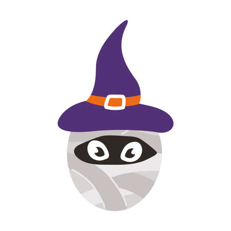 mummy wearing witch hat halloween character flat style icon vector illustration design