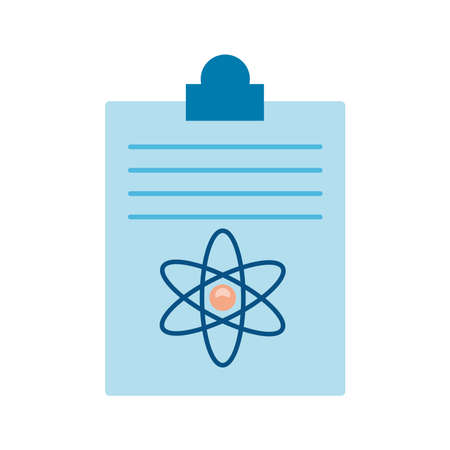 checklist medical order with atom molecule flat style icon vector illustration design 일러스트