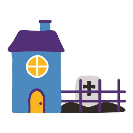 cemetery tomb with cross in house flat style icon vector illustration design