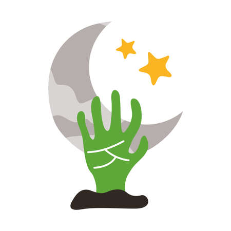 death hand out with crescent month flat style icon vector illustration design Ilustrace