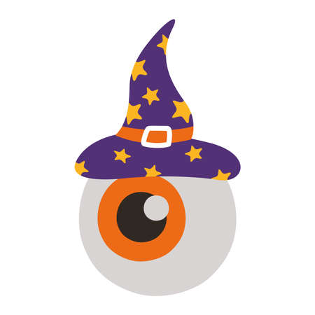 halloween eye with witch hat flat style icon vector illustration design Vettoriali