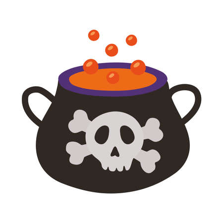 witch cauldron pot with skull stamp flat style icon vector illustration design