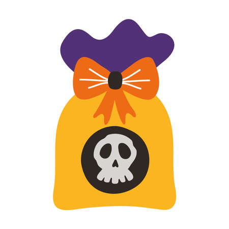 sweet candy bag halloween flat style icon vector illustration design