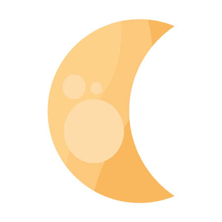 yellow moon icon of night bedtime sky space moonlight nature light lunar and science theme Vector illustration