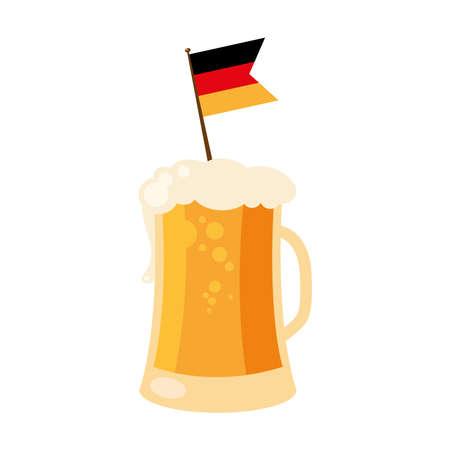 oktoberfest beer glass with flag design, Germany festival and celebration theme Vector illustration Ilustração