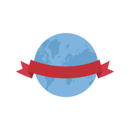 World sphere with ribbon design, Planet continent earth and globe theme Vector illustration Иллюстрация
