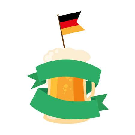 oktoberfest beer glass with flag and ribbon design, Germany festival and celebration theme Vector illustration Ilustração