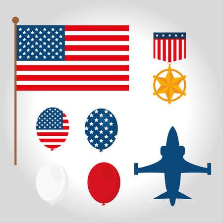 Symbols of American war veterans vector illustration design