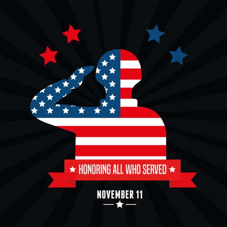 soldier of honoring in day veterans vector illustration design