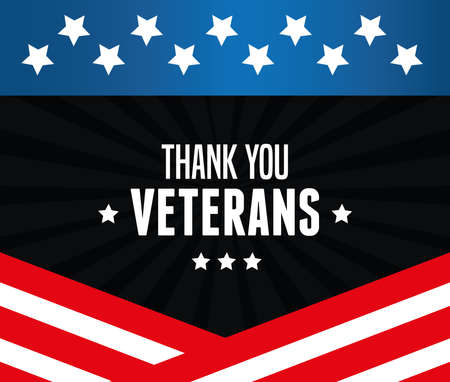 poster of thank you to veterans of war vector illustration design