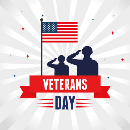 military with flag in honoring to veterans day vector illustration design