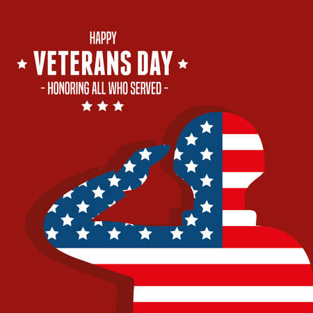 military with flag in day veterans of war vector illustration design