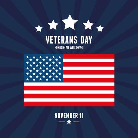 flag of states united in day veterans vector illustration design  イラスト・ベクター素材