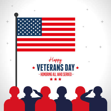 military and flag in day happy of veterans vector illustration design