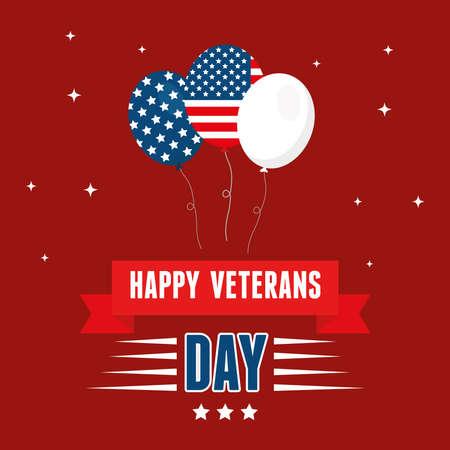 ballons for happy day of veterans vector illustration design  イラスト・ベクター素材