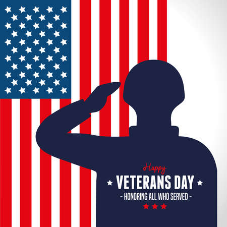 military with background of flag in day veterans vector illustration design  イラスト・ベクター素材