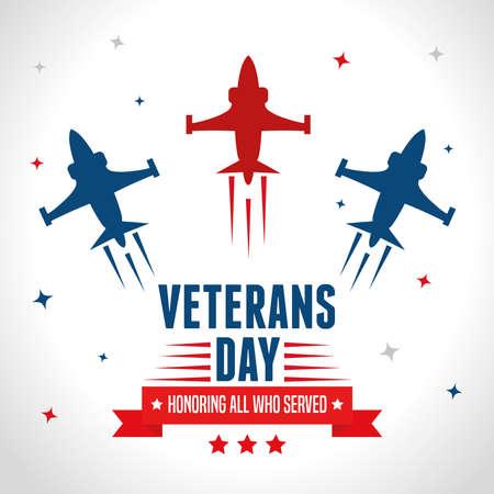 jets in day celebration of veterans of war vector illustration design  イラスト・ベクター素材